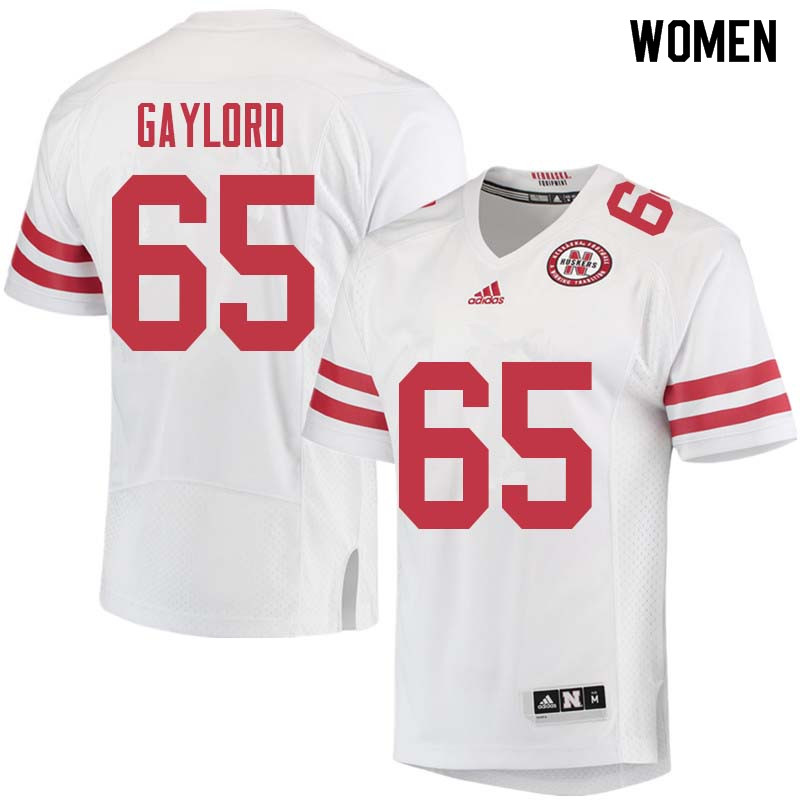 Women #65 Christian Gaylord Nebraska Cornhuskers College Football Jerseys Sale-White